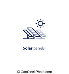 Solar panels line icon, green energy concept logo