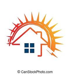Solar panels logo house and sun template