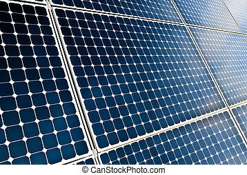 close view of solar panel modules