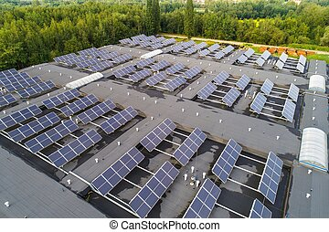 Solar panels mounted on the roof. Green energy