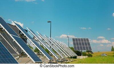 Solar panels near the modern enterprise, time-lapse