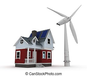 Solar panels on a house with wind turbine