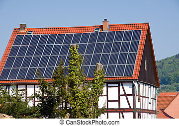Solar panels on a timbered house