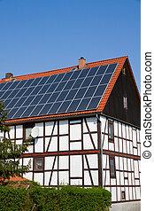Solar panels on an old house