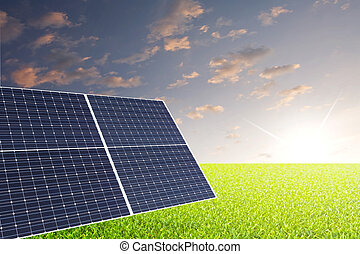 solar panels on grass field with nice sky and sun in back