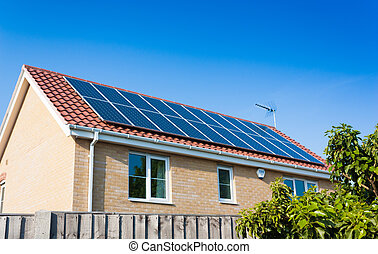 Solar Panels on House Roof