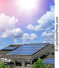 Solar panels on house rooftop sustainable energy