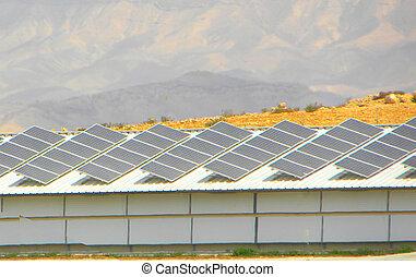 Solar panels on roof of barn