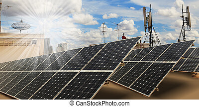 Solar panels on roof with blue sky