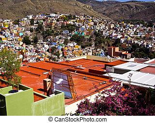 Solar panels on rooftop Guanajuato Mexico