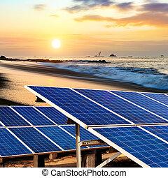 Solar panels on the beach