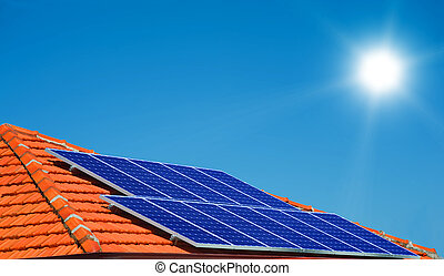 Solar panels on the roof of modern house