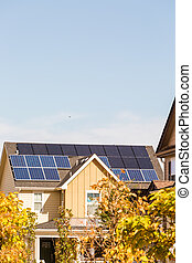 Solar panels on the roof of residential house.