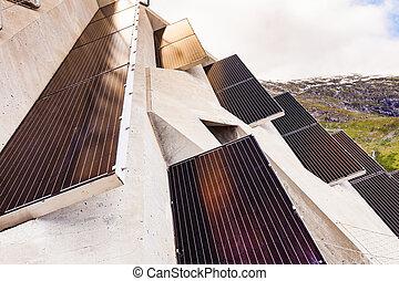 Solar panels on Utsikten viewpoint, Norway