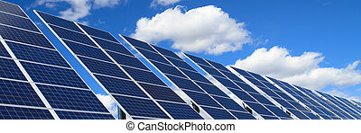 solar panels over blue sky