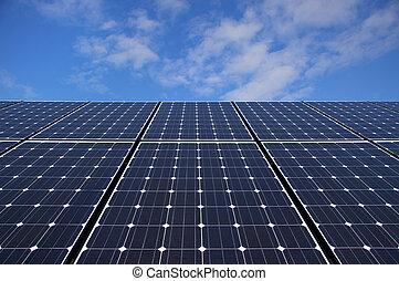 Solar Panels - Photovoltaic solar panels against blue sky...