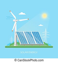 Solar panels power plant and factory. Green energy industrial concept. Vector illustration in flat style. Electricity station background.