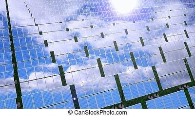 Solar panels - renewable energy concept - 3D 4k animation