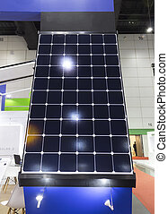 Solar panels Show in an Exhibition; solar energy; eco-friendly technology