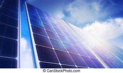 Solar Panels Sky Panorama (Loop) - Camera slowly moves...