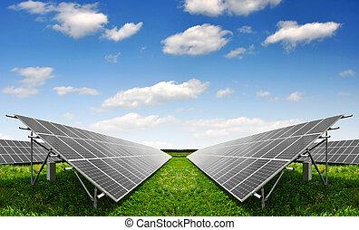 Solar  panels  - Solar energy panels with blue sky