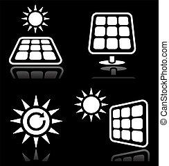 Solar panels, solar energy white ic - Vector icons set of...