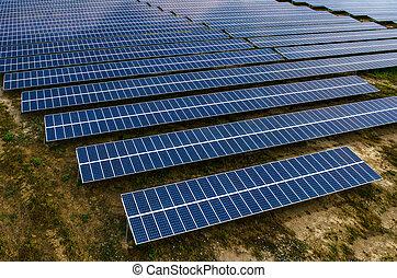 Solar panels, solar farms - Solar farm, solar panels aerial...