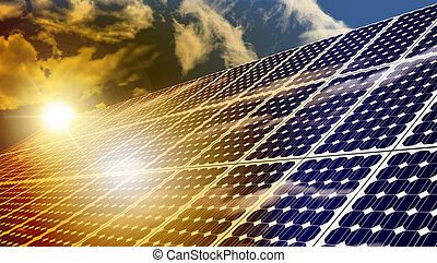 Solar Panels - Solar panels absorbing the suns energy on hot...