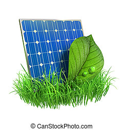 Solar panels - Very high resolution 3d rendering of a solar...