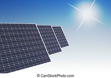 solar panels on smooth bue background with sun