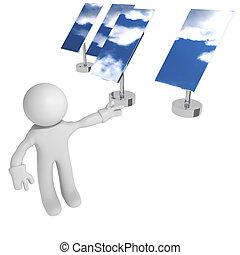 Solar panels - Man with solar panels, 3d image