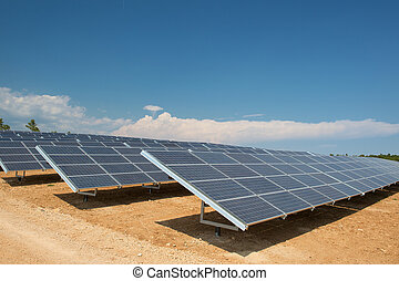Solar panels for sun energy in landscape