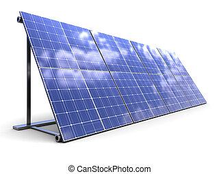 solar panels - 3d illustration of solar panels row over...