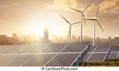 solar panels under sky