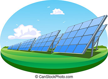 Solar panels, vector illustration