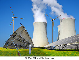 Solar panels, wind turbines and nuclear power plant.