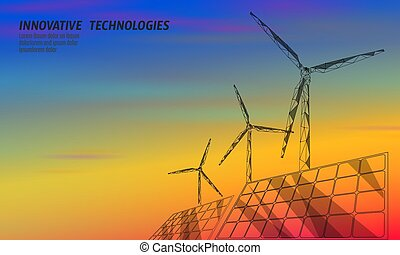 Solar panels windmills turbine generating electricity. Green ecology saving environment. Renewable power low poly polygonal geometric colorful sunset red orange blue sky design vector illustration