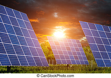 Solar Panels with beautiful clouds and sunshine