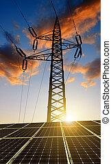 Solar panels with electricity pylon