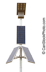 Solar panels with led lamp over white