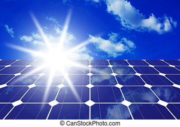 solar panels with sun - Image of solar panels - clean energy...
