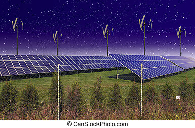 Solar panels with wind turbines