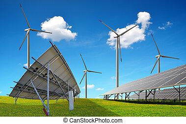 Solar panels with wind turbines.
