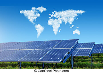 solar panels with world map in sky