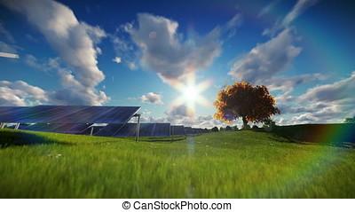 Solar pannels, time lapse clouds