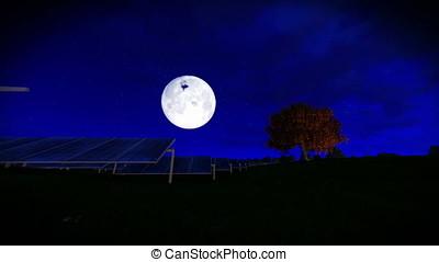 Solar pannels, timelapse clouds, full moon