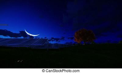 Solar pannels, timelapse night to day, tilt