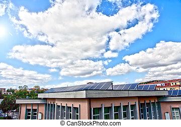 solar, paqnels, telhado