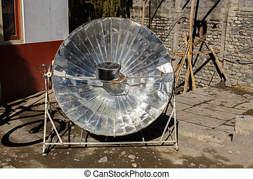 Solar parabolic heater, Himalayas, Nepal