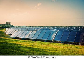 Solar park on a green field